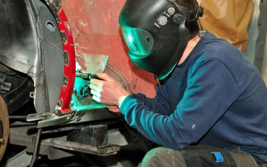 Welding services performed on car